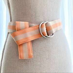 Accessories - Peach Stripe Ribbon Adjustable Reversible Belt